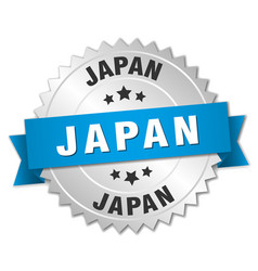 Japan round silver badge with blue ribbon vector