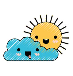 Kawaii cloud and sun in colored crayon silhouette vector