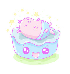 Kawaii of a cute little cat in a bed vector