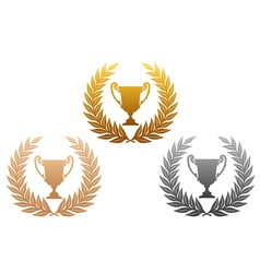 Laurel wreath with trophy vector