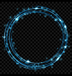light blue glowing rings vector image