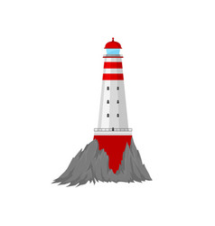 Lighthouse is surrounded cliffs vector