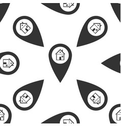map pointer with house icon seamless pattern vector image