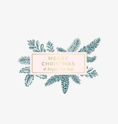 Merry christmas abstract botanical card vector