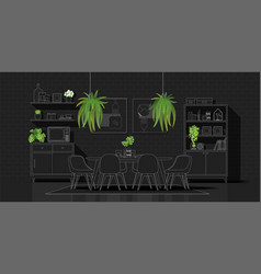 modern dining room in white line sketch vector image