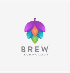 modern tech hop brew brewery logo icon vector image