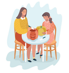 Mom and her child carve a pumpkin for halloween vector