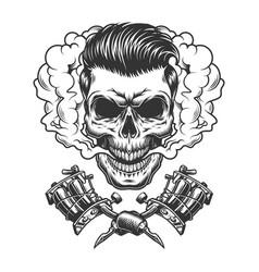 Monochrome hipster skull in smoke cloud vector