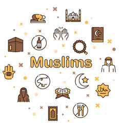 muslim color linear icons set vector image