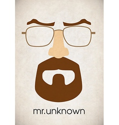 Mustache glasses eyebrows vector