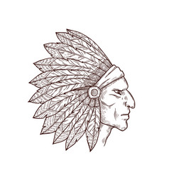 native american indian chief with feathers on head vector image
