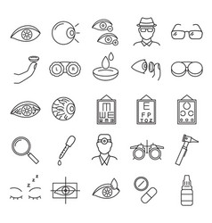 Optometry signs black thin line icon set vector