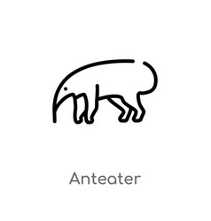 Outline anteater icon isolated black simple line vector
