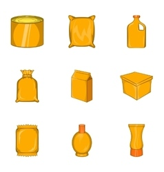 Packaging icons set cartoon style vector image
