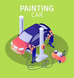 Painting car with spraying gun in autoservice vector