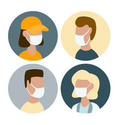 people in protective face masks during covid-19 vector image