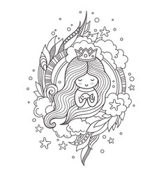portrait of a cute princess mermaid with fish vector image