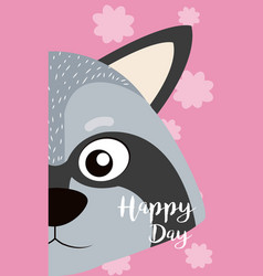 Raccoon cute animal cartoon card vector