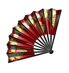 red fan with golden grape vector image