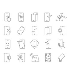 Repair smartphones icons set breakage and vector