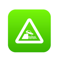 riverbank traffic sign icon digital green vector image