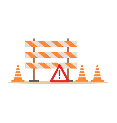road cones and barriers signalling tools part of vector image