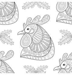 rooster with mistletoe seamless pattern vector image