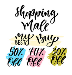 Sales calligraphy tag shopping decoration set vector