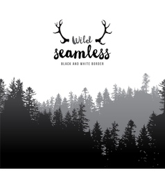 Seamless coniferous forest border vector