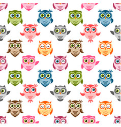 Seamless pattern with cute colorful owls and vector