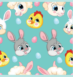 seamless pattern with heads rabbits lambs vector image