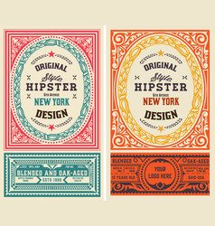 Set 2 old liquor labels for packing vector