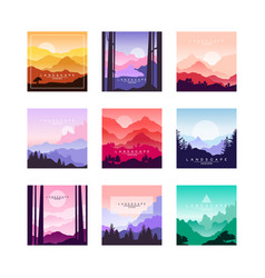 Set beautiful flat cartoon landscapes vector