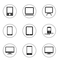 set of 9 editable devices icons includes symbols vector image