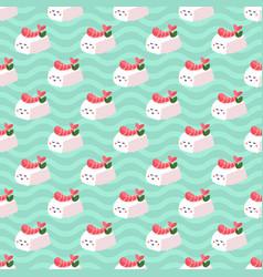 shrimp nigiri sushi seamless pattern vector image