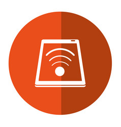 Smartphone connected wifi internet button shadow vector
