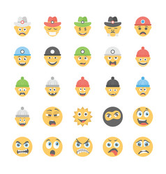 smiley flat icons set 30 vector image