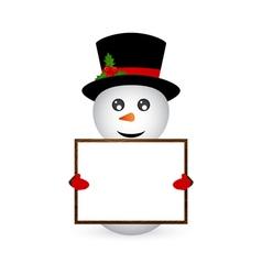 Snowman holding a banner vector