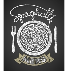 Spaghetti menu drawn on chalkboard vector image