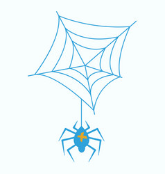 spider and torn web scary spiderweb of halloween vector image