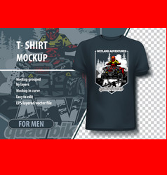 t-shirt mock-up template with quadbike on wetland vector image