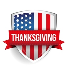 Thanksgiving on USA flag shield vector image