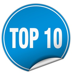 Top 10 round blue sticker isolated on white vector