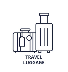 travel luggage line icon concept travel luggage vector image
