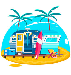 Tropical sunset travel trailer caravans surfing vector