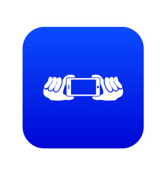 two hands holding mobile phone icon digital blue vector image