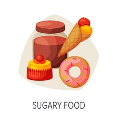 Unhealthy food for brain sugary food donut ice vector