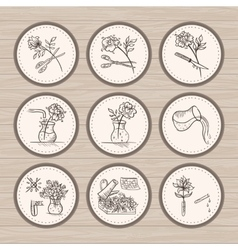 Vintage Floristic Icons vector image