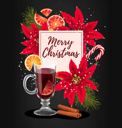 winter card with mulled wine vector image