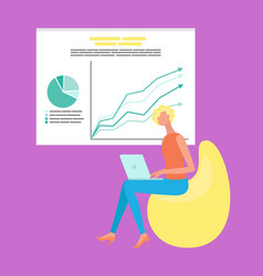 woman working with laptop growth chart vector image